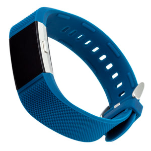 Designer Silicone Sport Band for Fitbit Charge 2 by WITHit in Blue Woven