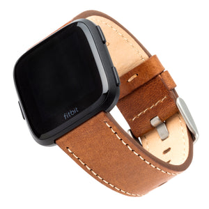 Designer Band for Fitbit Versa and Versa 2 by WITHit in Brown Leather