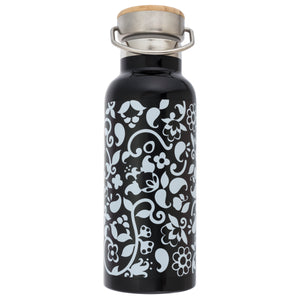 French Bull Stainless Steel Insulated Water Bottle - Black & White Vine