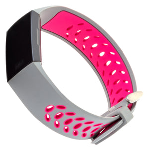 Designer Silicone Band for Fitbit Charge 3 & Charge 4 by WITHit in Gray/Pink Sport