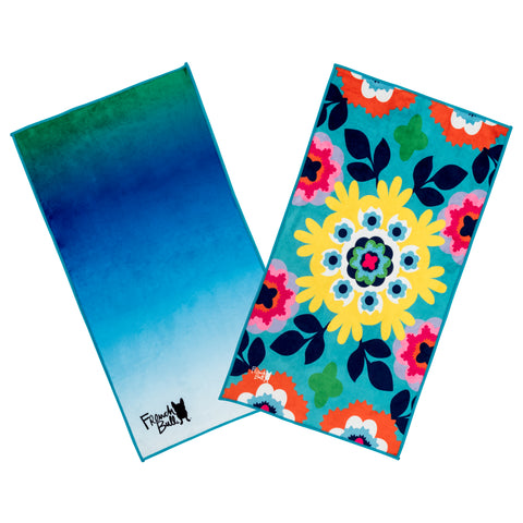 French Bull Microfiber Sport Towels - 2 Pack -  Blue Ombre & Suzani Turq