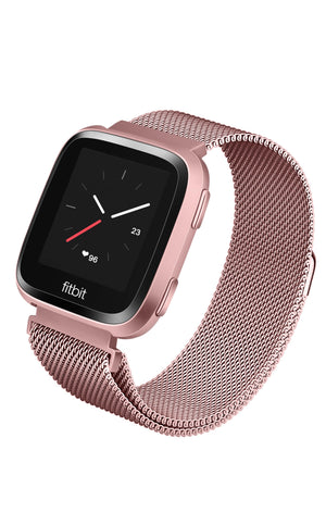Stainless Steel Mesh Band for Fitbit Versa Series by WITHit in Rose Gold