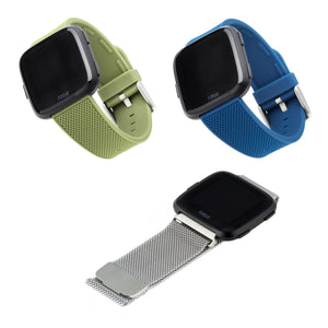 Designer Bands for Fitbit Versa and Versa 2 by WITHit - 3 Pack in Silver Mesh, Olive Silicone and Navy Silicone