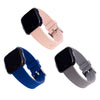 Designer Silicone Bands for Fitbit Versa Series by WITHit - 3 Pack in Navy, Blush Pink, and Light Gray