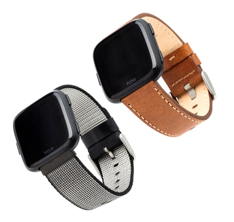 Designer Bands for Fitbit Versa by WITHit - 2 Pack in Brown Leather and Black Nylon