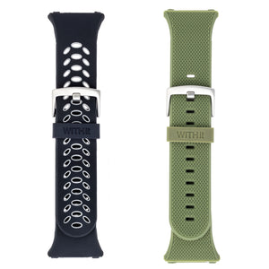 Designer Silicone Bands for Fitbit Ionic by WITHit - 2 Pack in Black/Gray Sport & Olive Woven