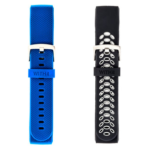 Designer Silicone Bands for Fitbit Charge 3 by WITHit - 2 Pack in Black/Gray Sport & Blue Woven