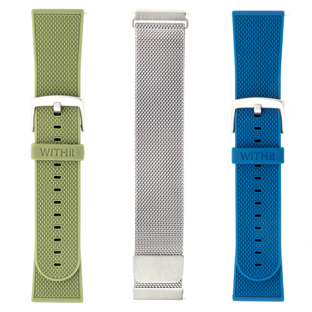 Designer Bands for Fitbit Versa by WITHit - 3 Pack in Silver Mesh, Olive Silicone and Navy Silicone