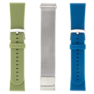 Designer Bands for Fitbit Versa Series by WITHit - 3 Pack in Silver Mesh, Olive Silicone and Navy Silicone