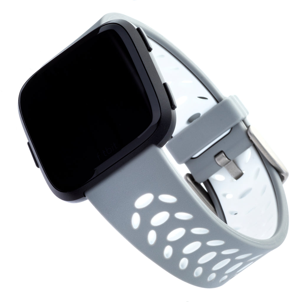 Designer Silicone Band for Fitbit Versa by WITHit in Gray/White Sport