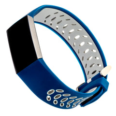 Designer Silicone Band for Fitbit Charge 3 by WITHit in Navy/Gray Sport