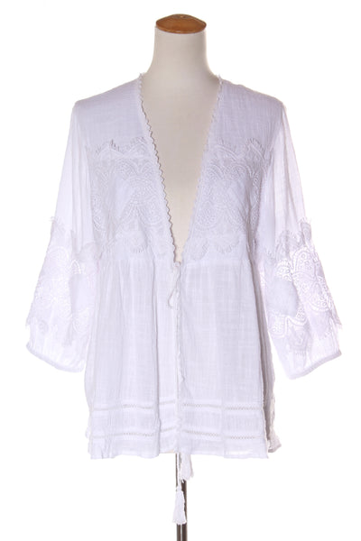 Cafe Latte White Crochet Jacket 14 Recycle Style Preloved