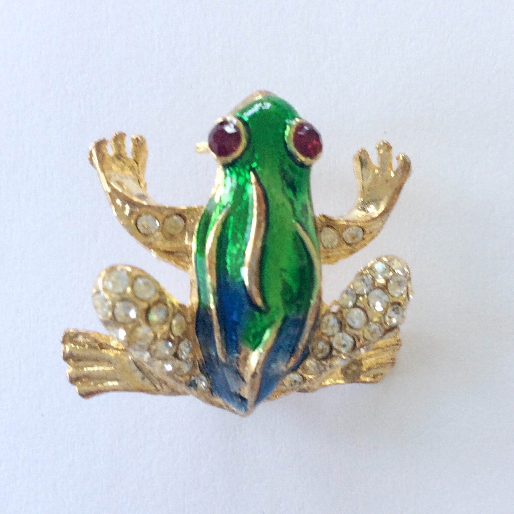 Vintage Rhinestone and Enamel Frog Pin