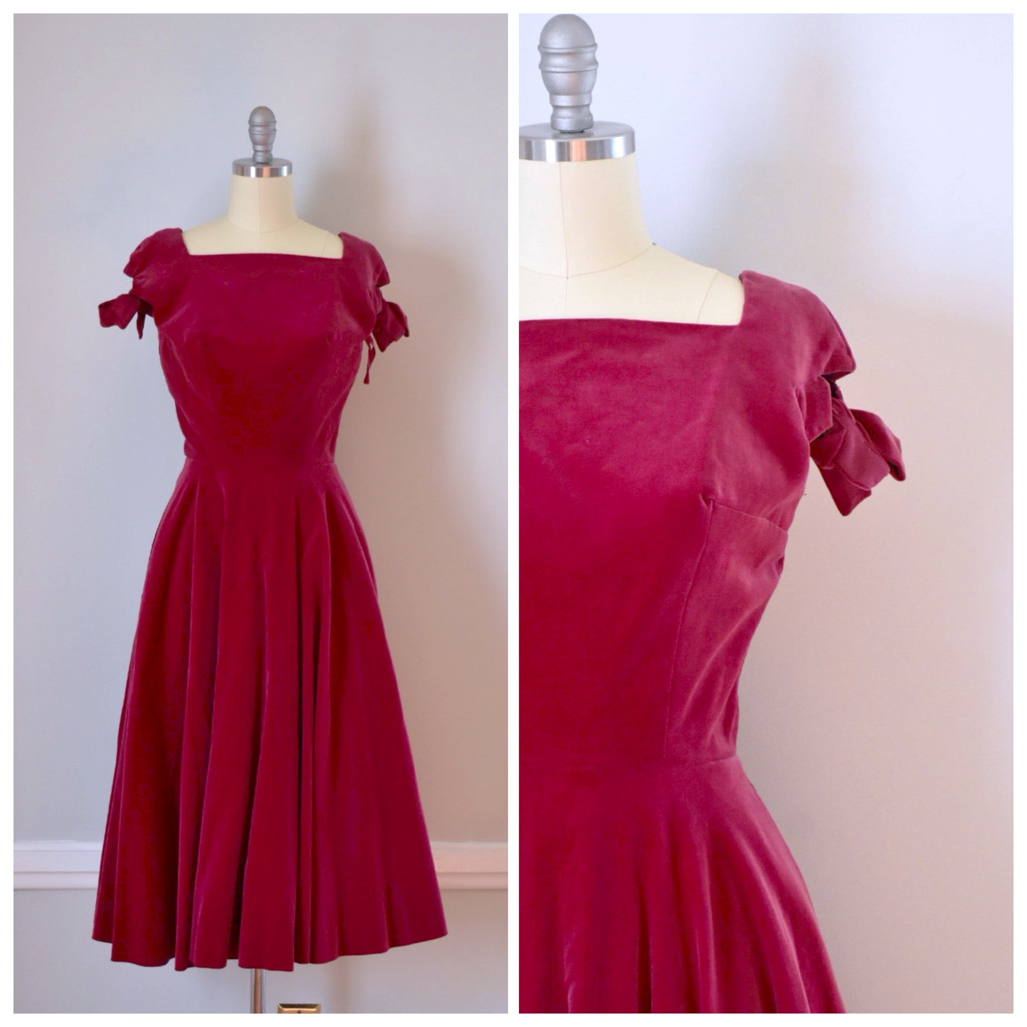 8c3d3424142b 50s Vintage Raspberry Red Velvet Party Dress – Duncan Loves Tess ...