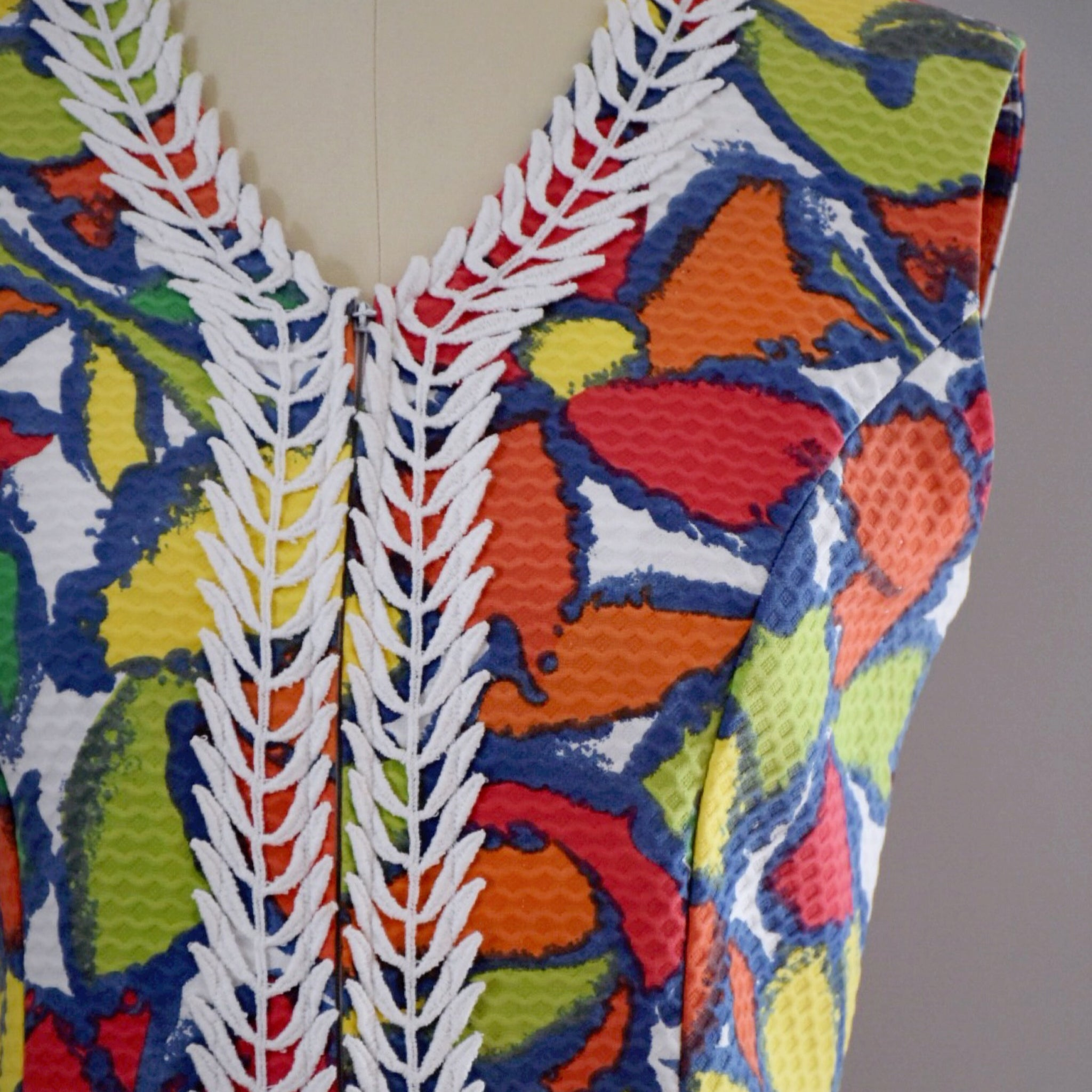 60s Vintage Abstract Floral Dress