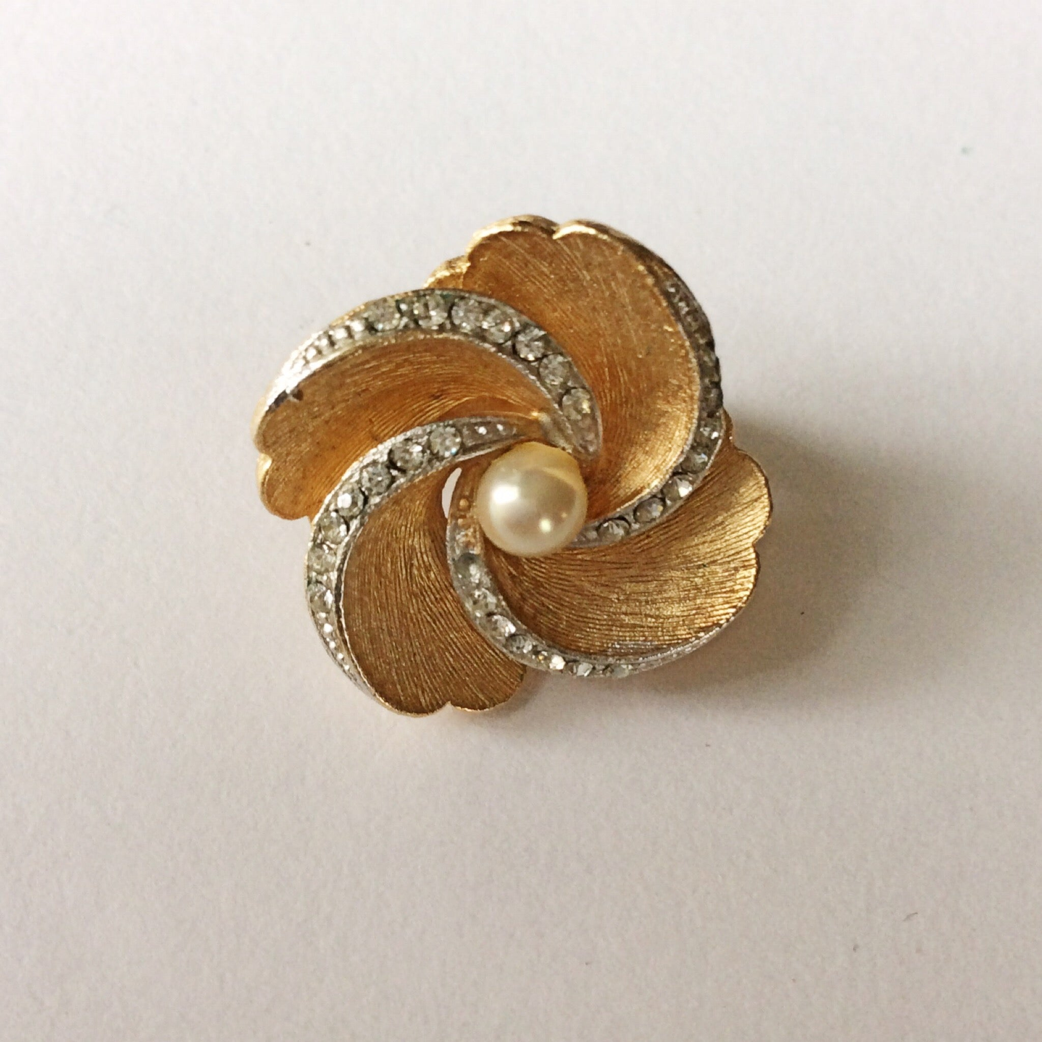 60s Vintage Marvella Pearl and Rhinestone Earrings