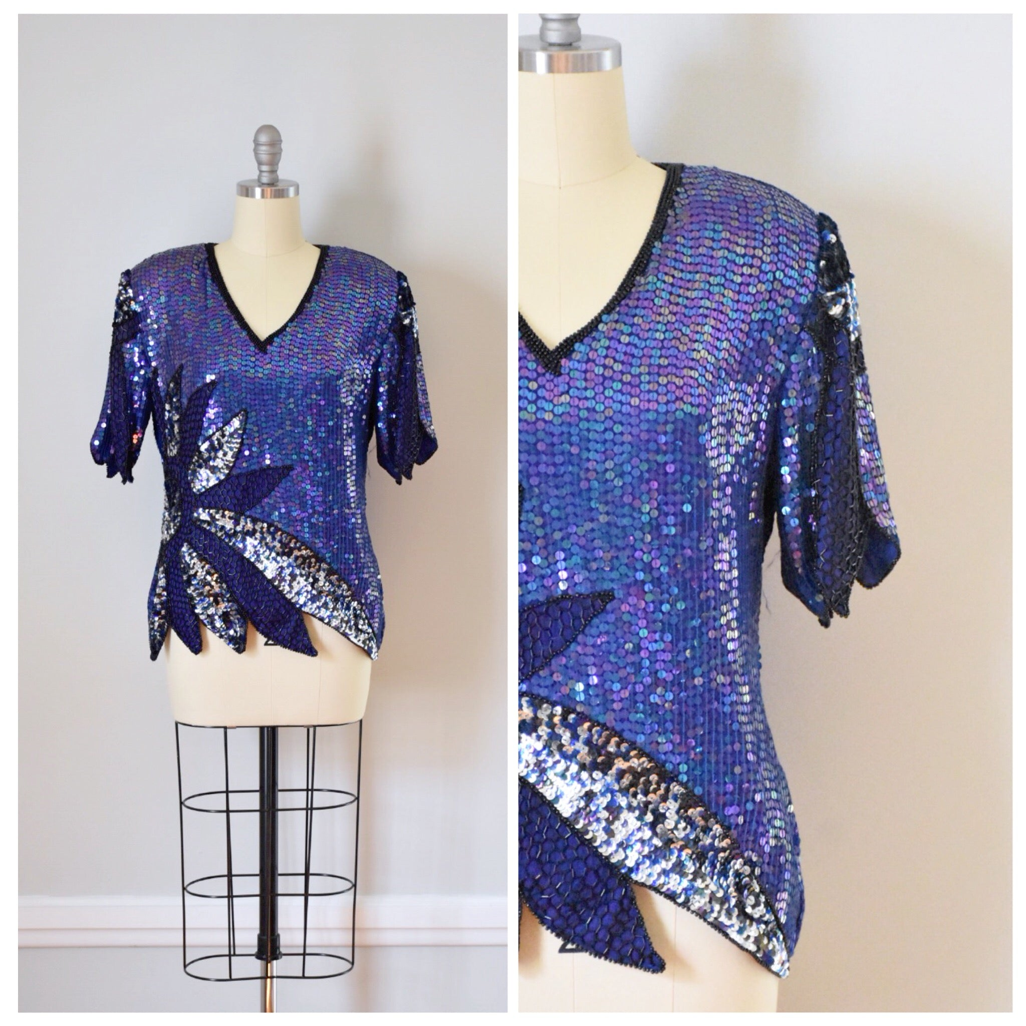 80s Vintage Beaded Trophy Top