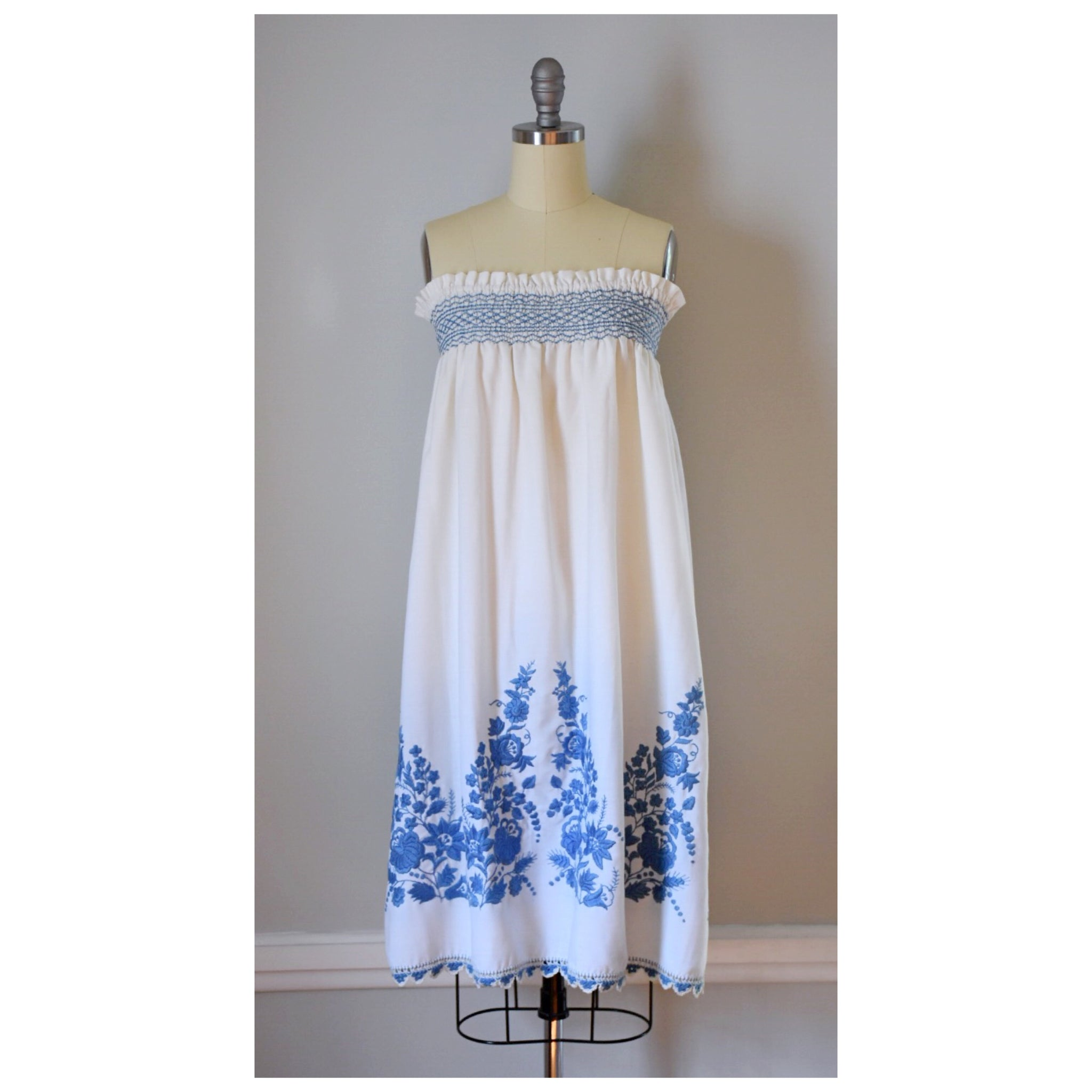 60s Embroidered Dress Or Skirt