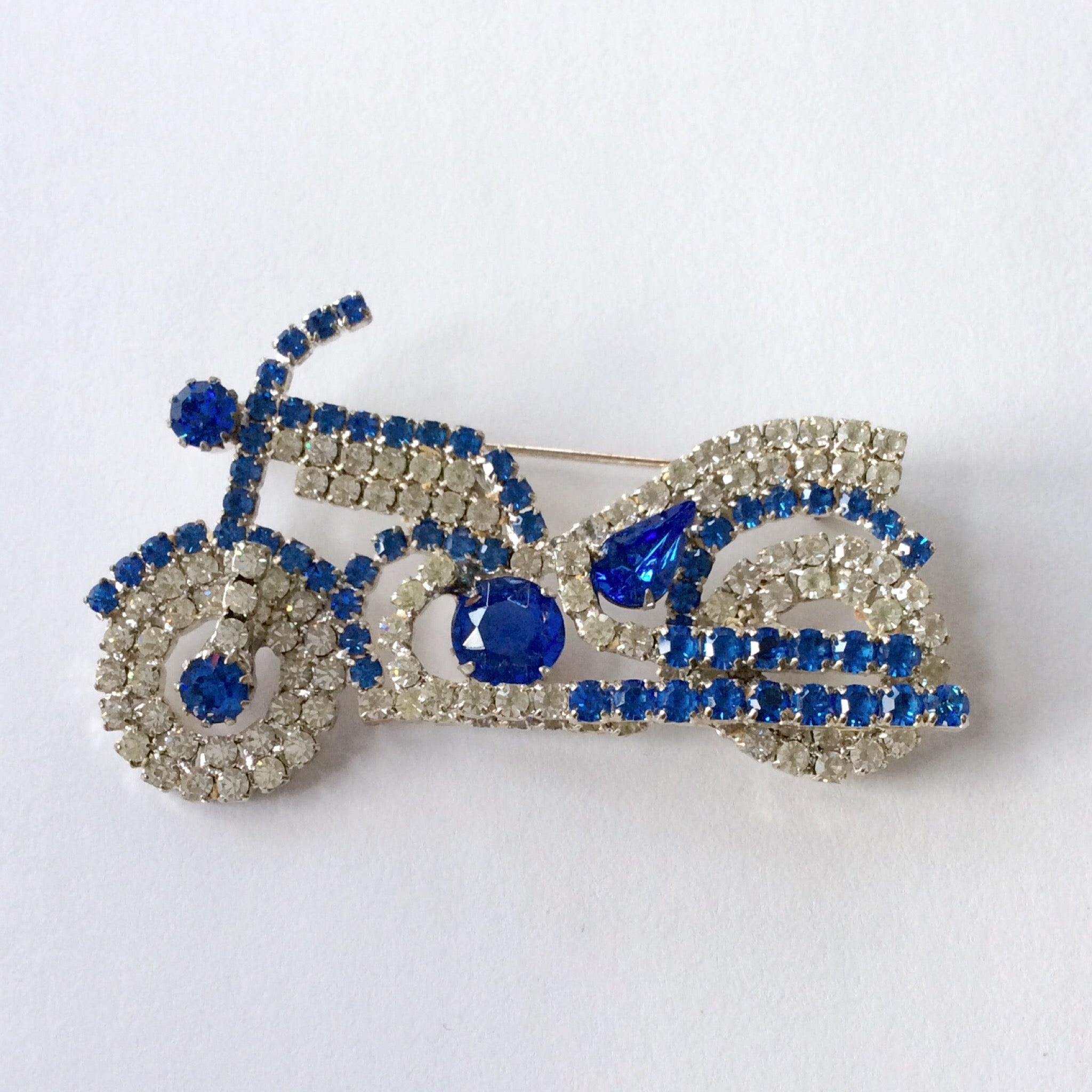 50s Rhinestone Motorcycle Pin