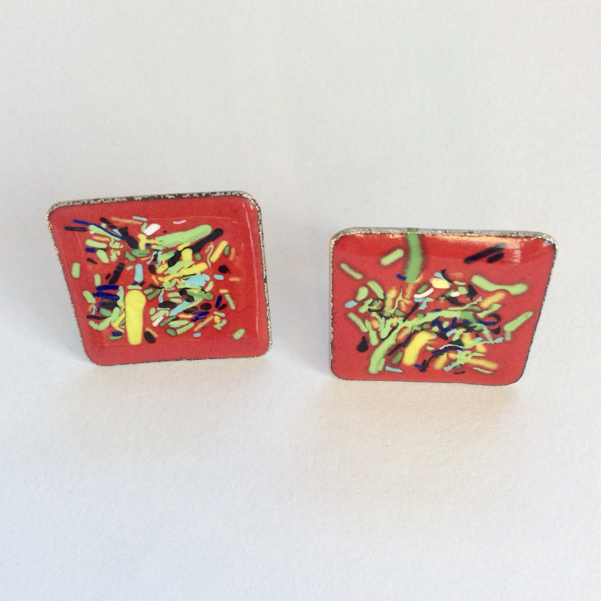 60s Vintage Abstract Red Enamel Earrings