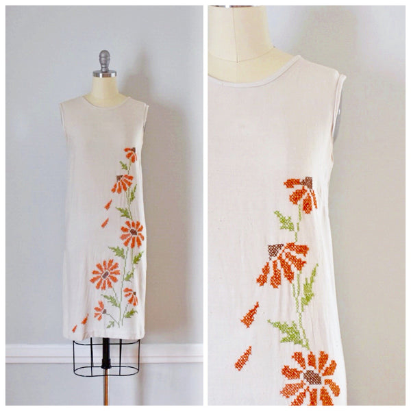 60s Vintage Embroidered Shift Dress