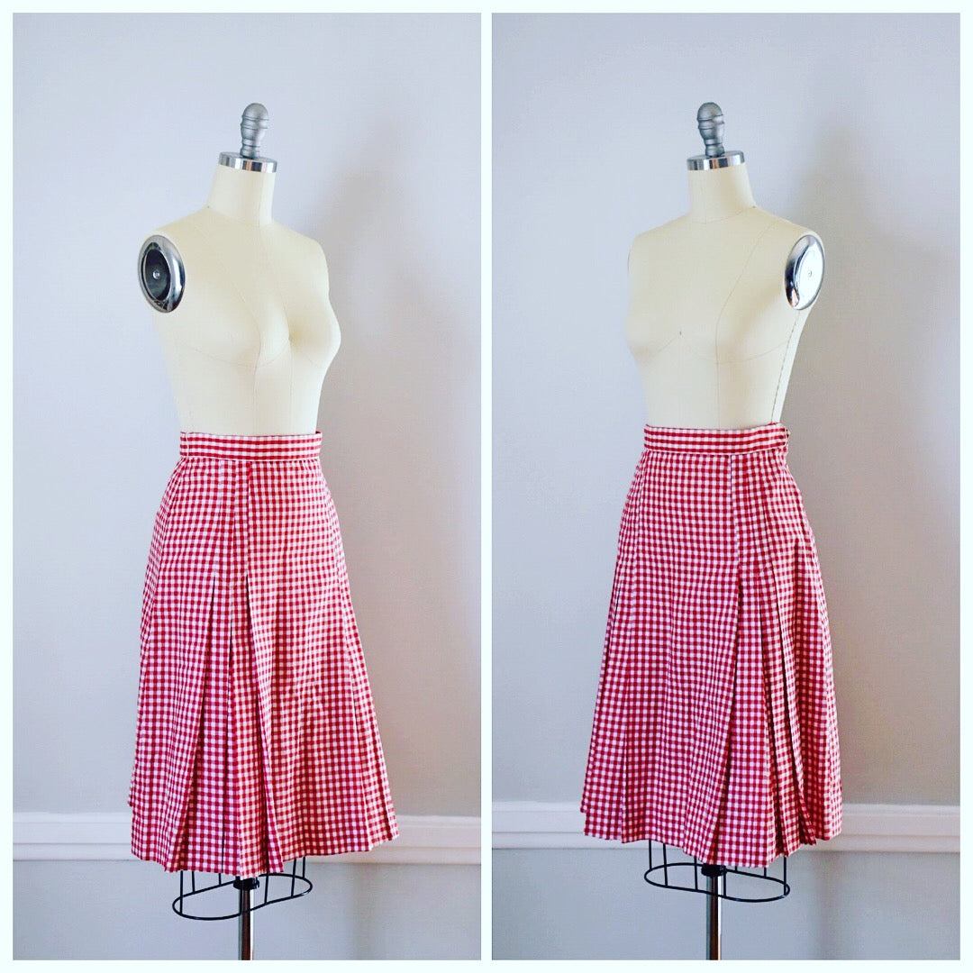 60s Vintage Red and White Evan-Picone Gingham Skirt