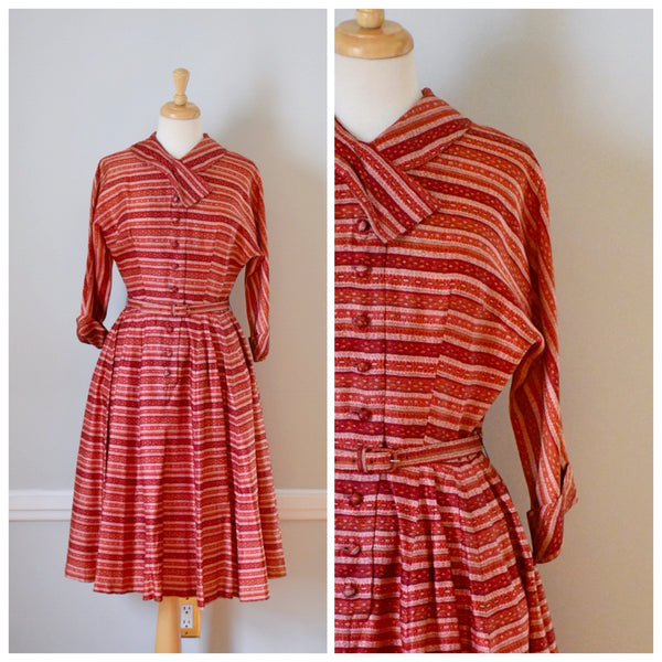 50s Vintage Stripped Rockabilly Shirtwaist Dress