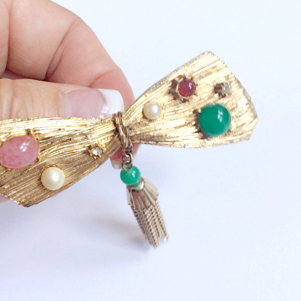 60s Vintage Bow Tie Brooch With Beads and Rhinestones