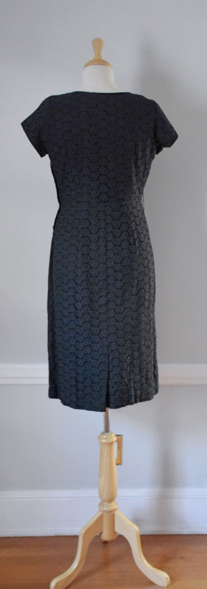 50s Vintage Black Eyelet Sheath Dress