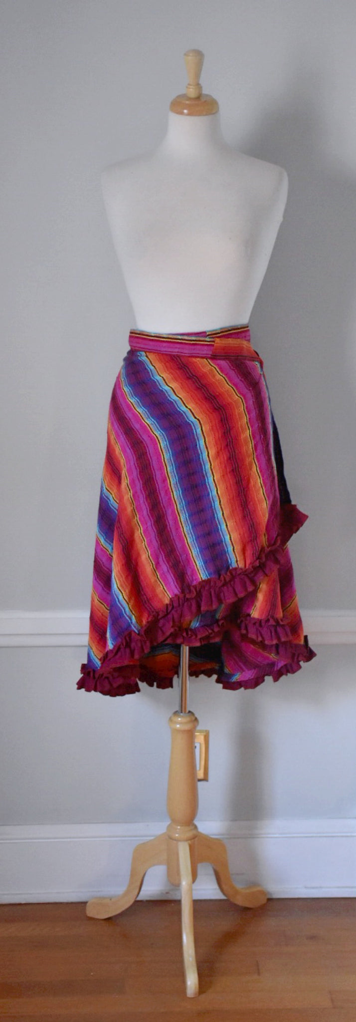 70s Vintage Cotton Wrap Skirt