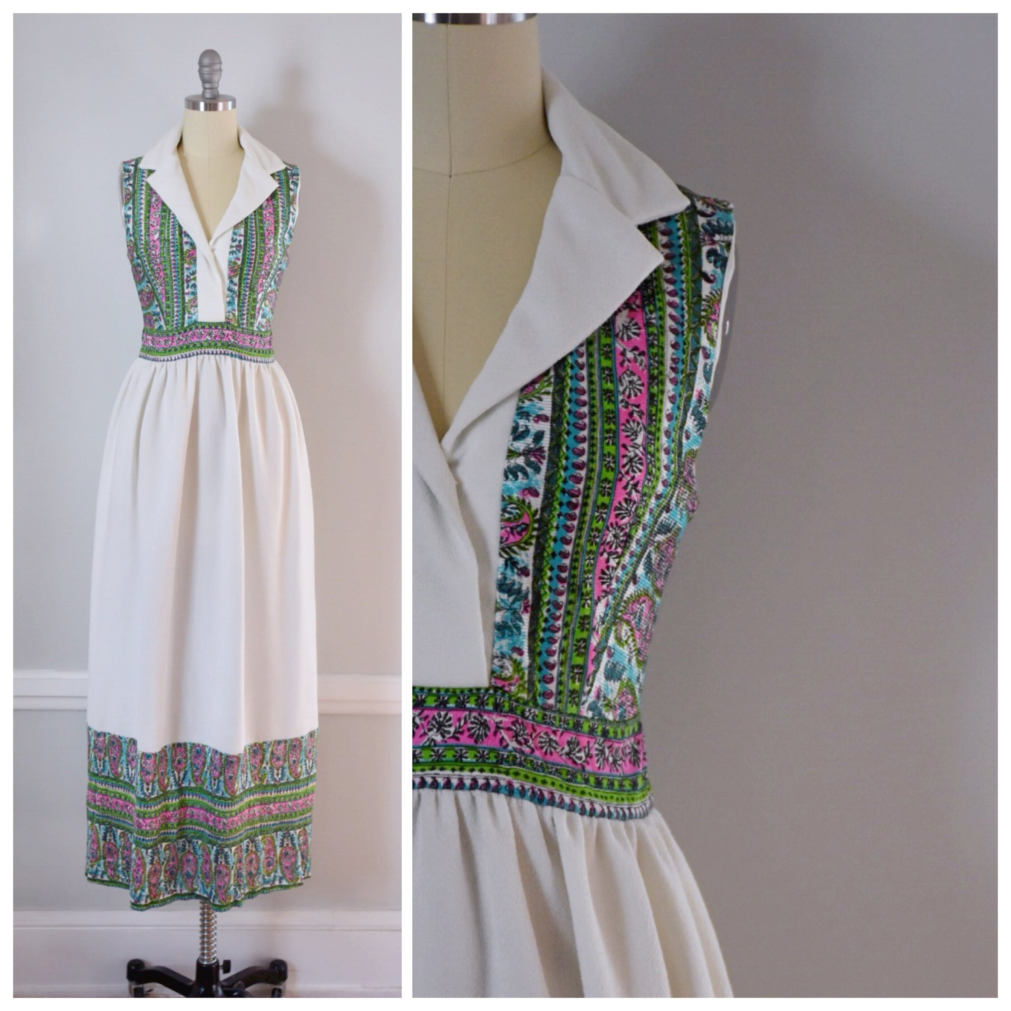 70s Polyester Maxi Dress