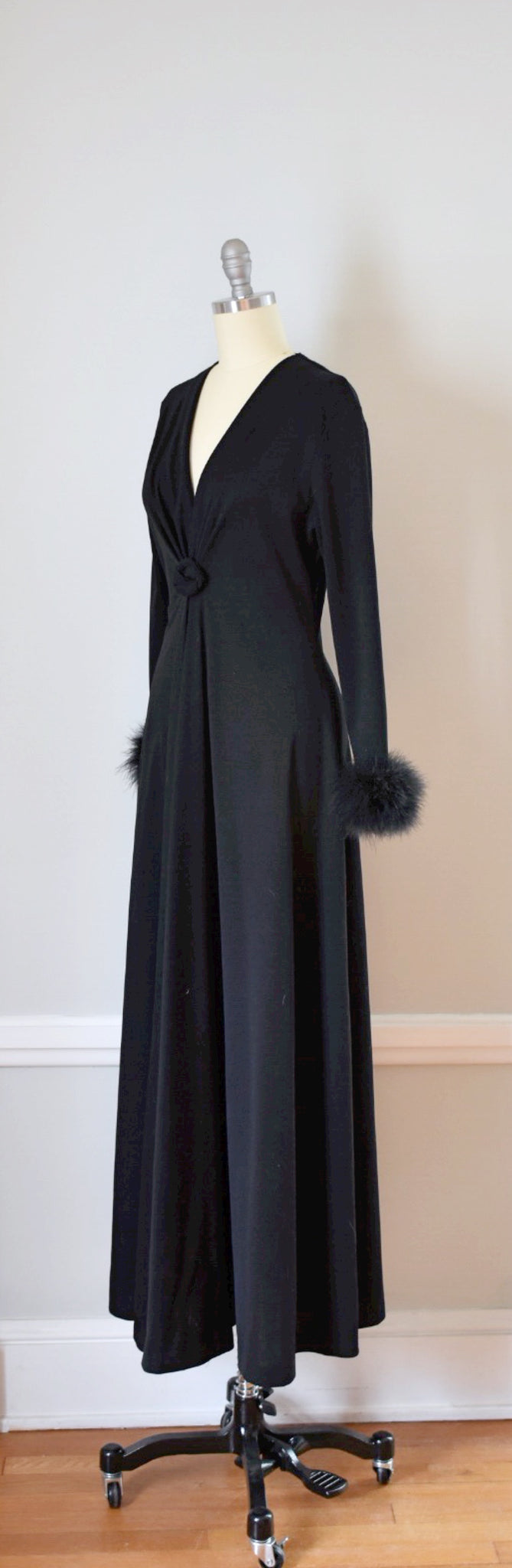 60s Vintage Floor Length Maxi Dress With Ostrich Feathers
