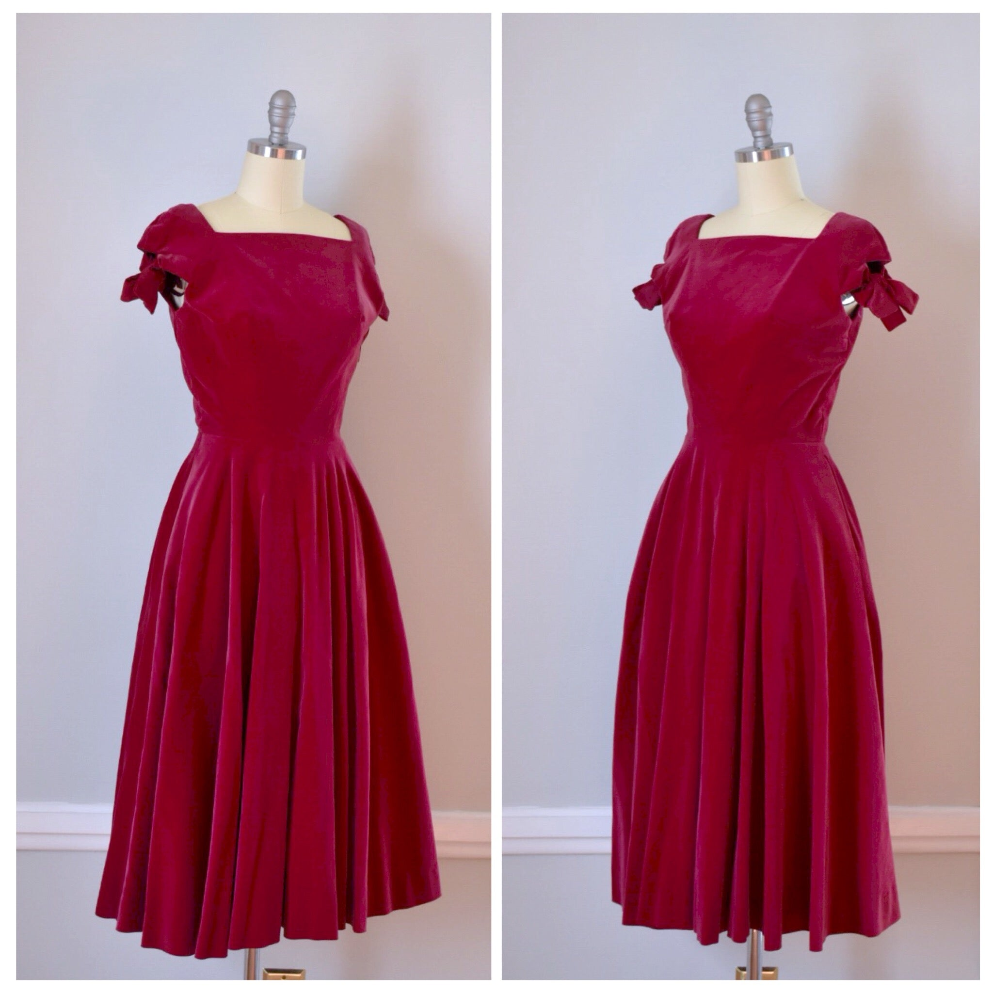 50s Vintage Raspberry Red Party Dress