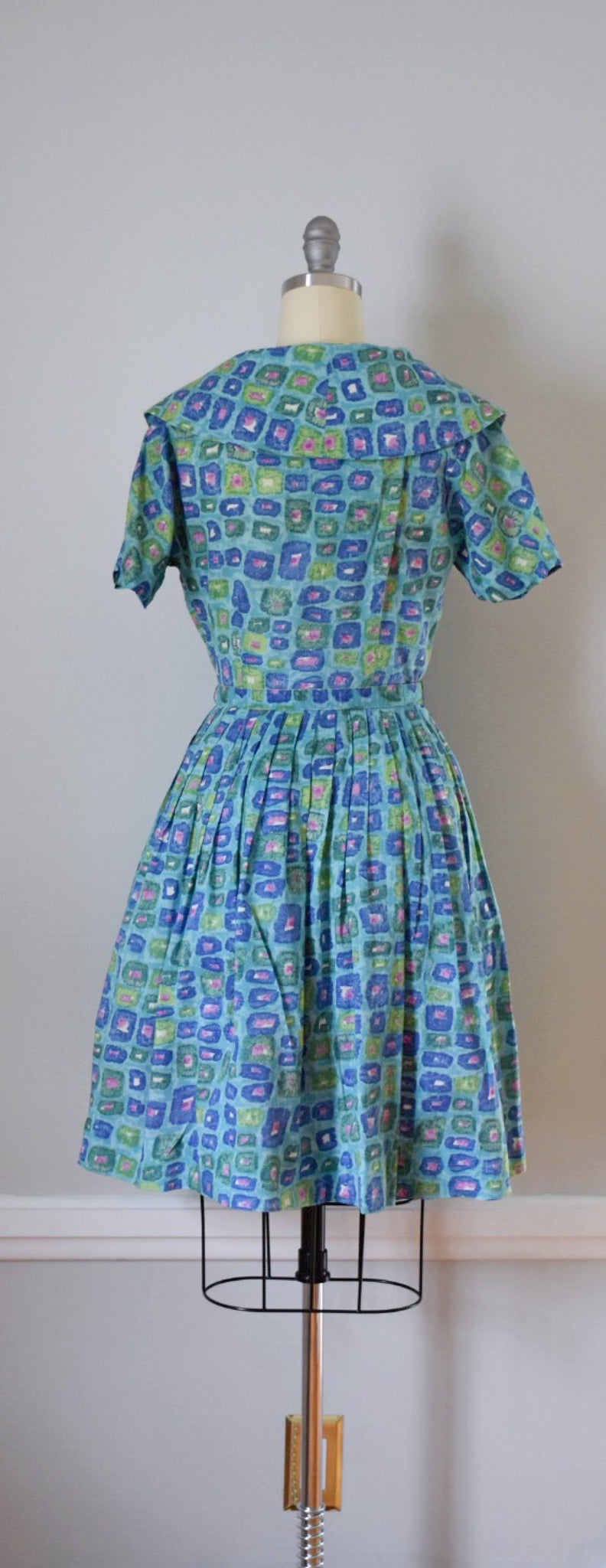 50s Vintage Novelty Print Shirtwaist Day Dress