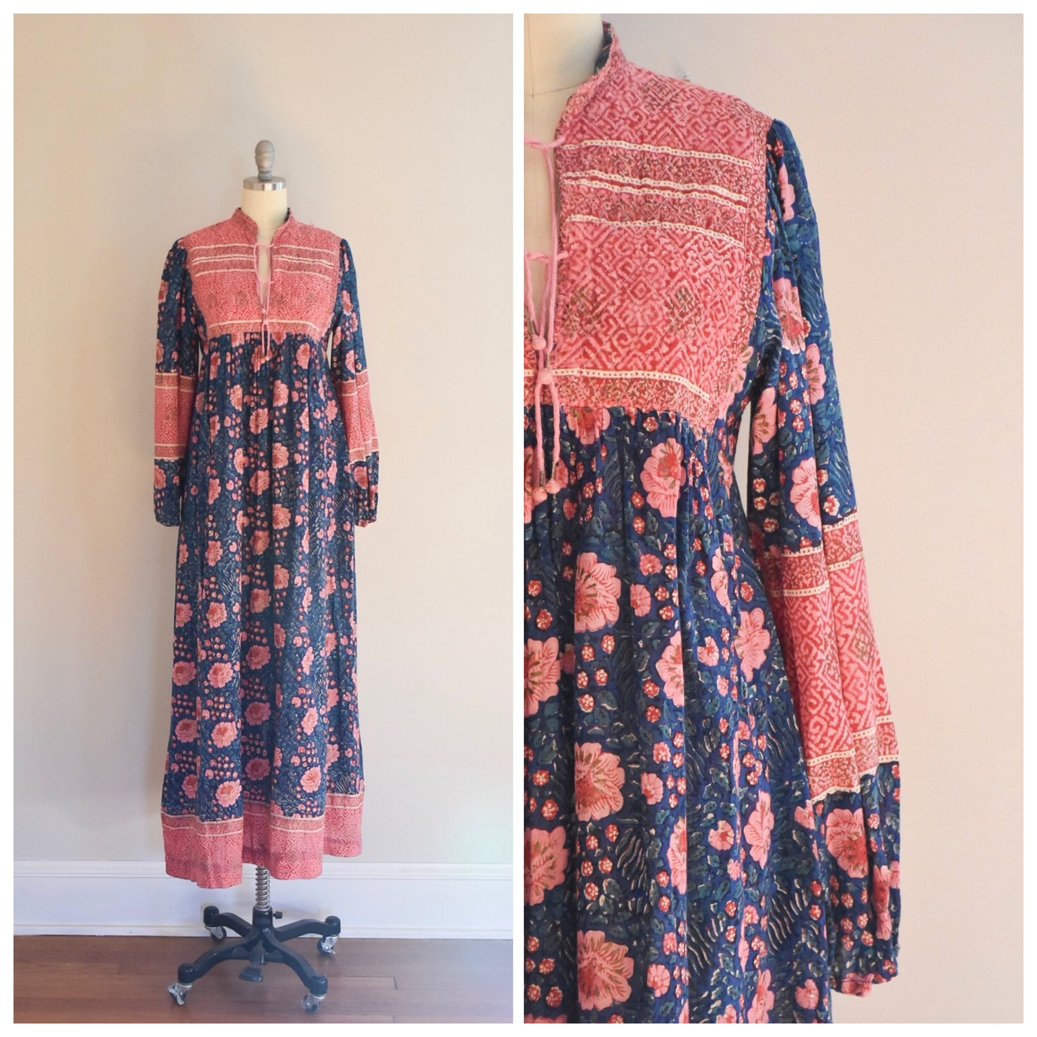 70s India Print Cotton Dress