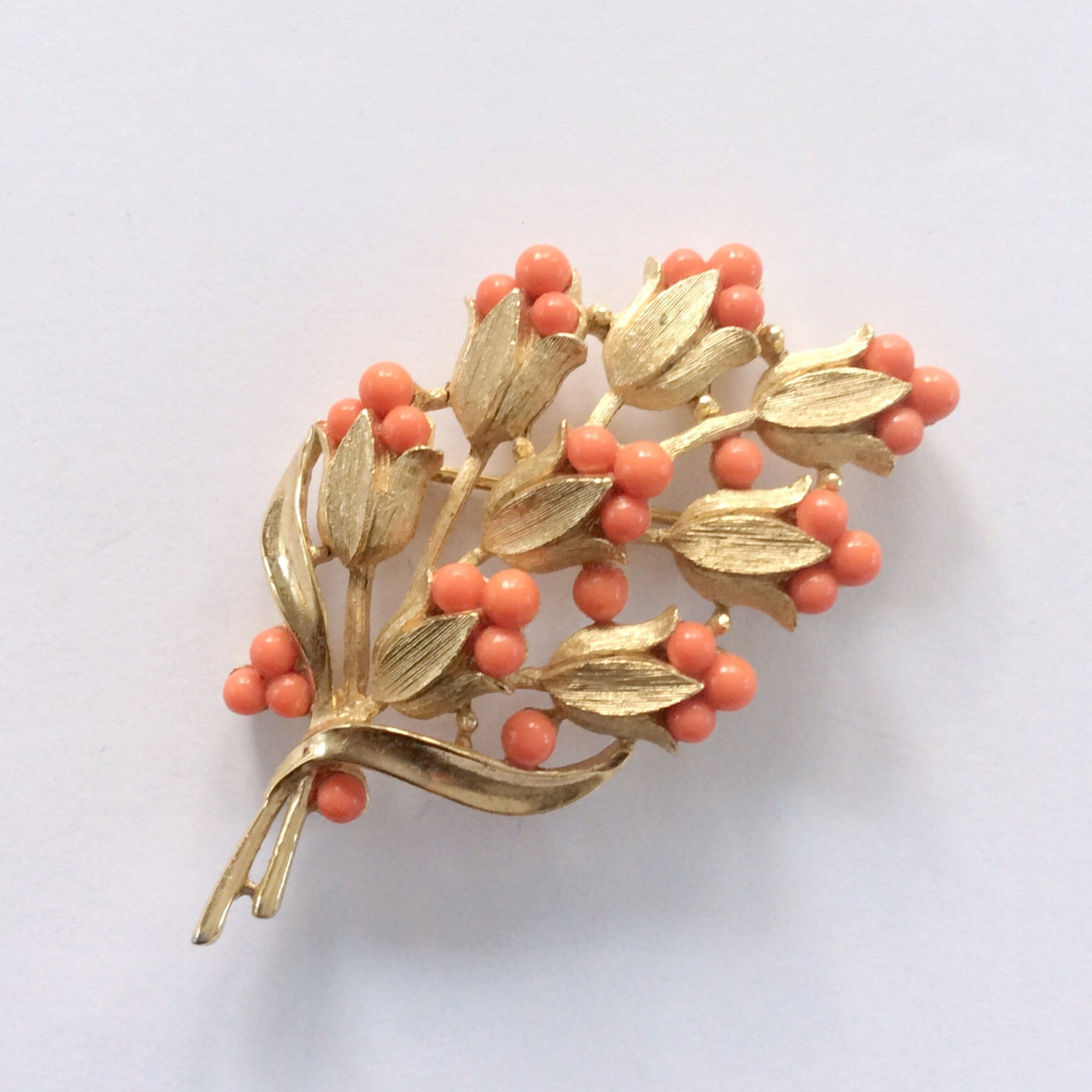 Vintage Trifari Coral Spray Brooch