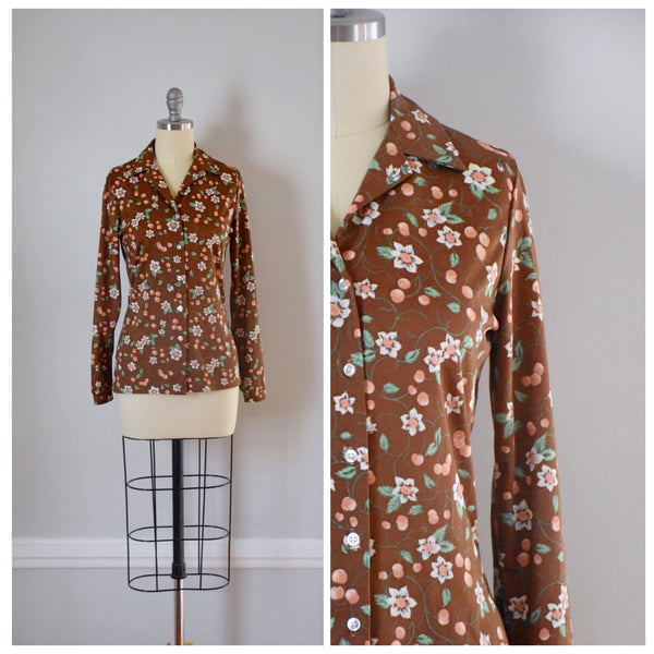 70s Vintage Polyester Blouse