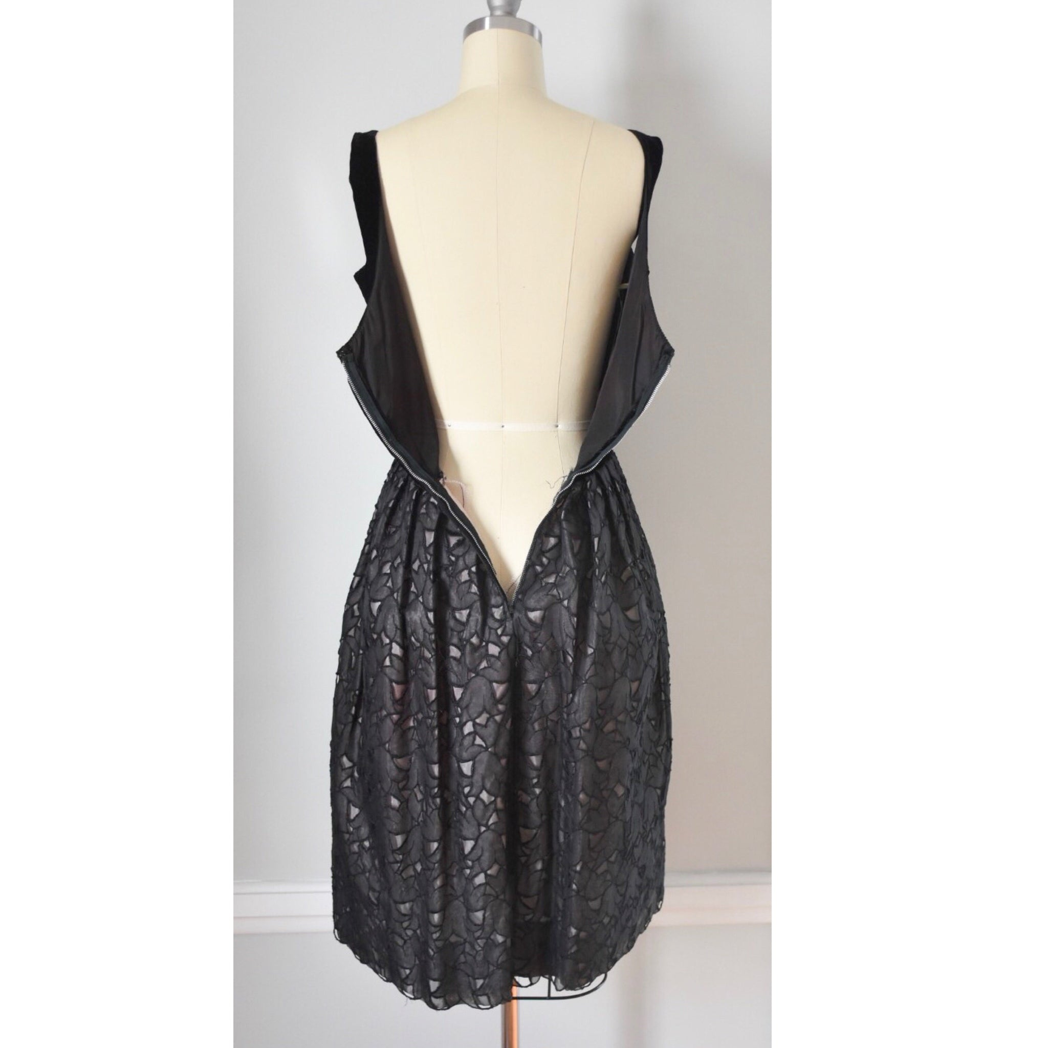 50s Vintage Velvet And Lace Dress