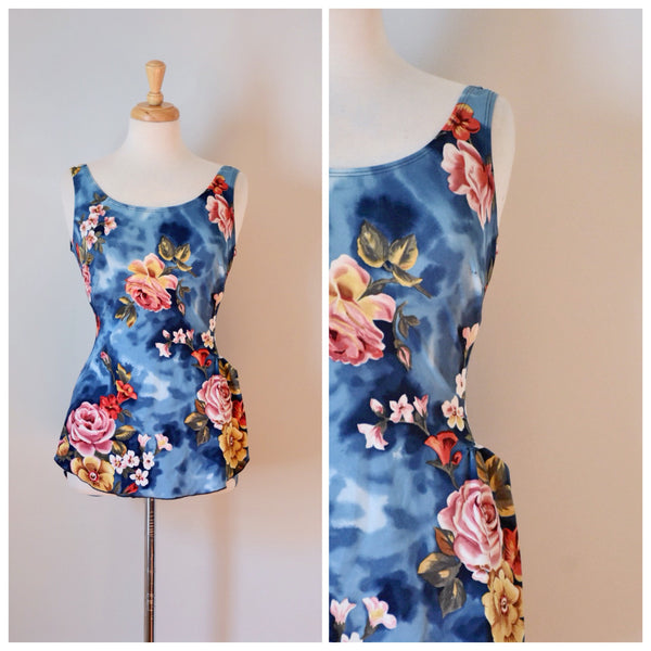 60s Vintage One Piece Floral Skirted Swimsuit