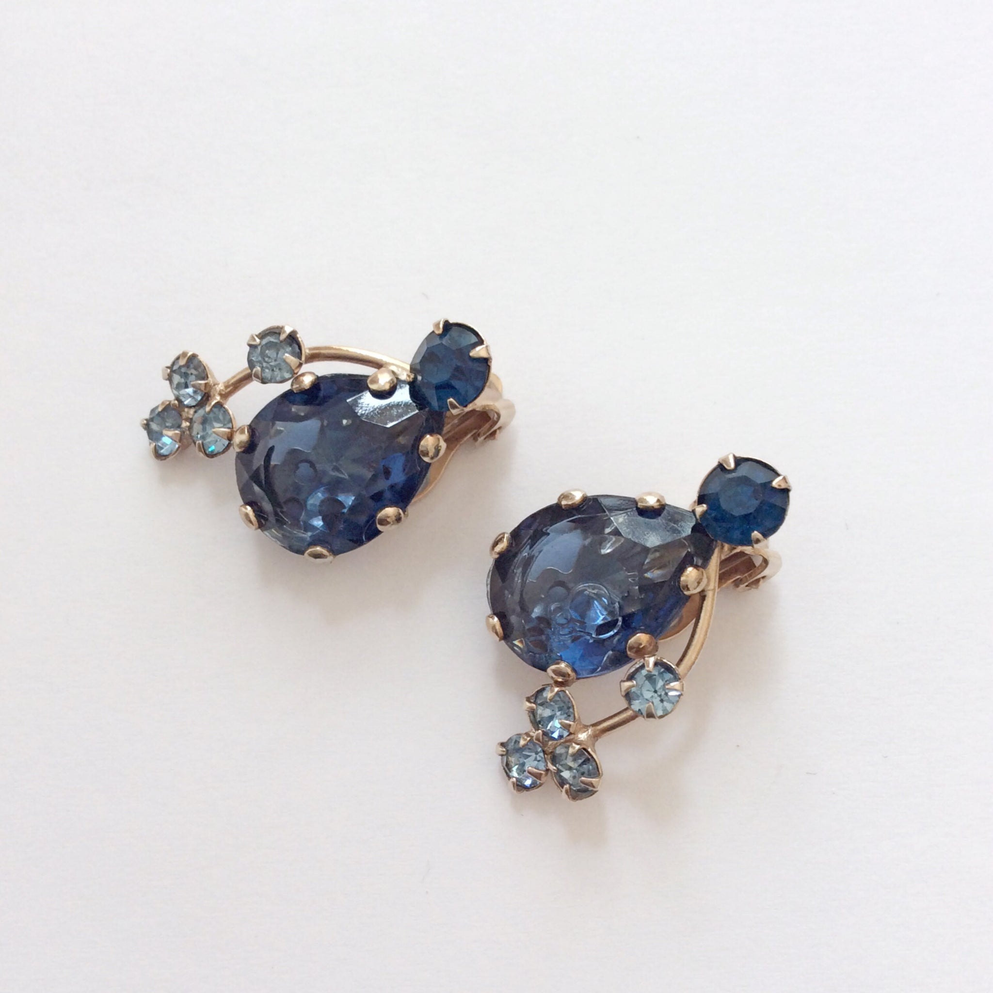 50s Rhinestone Cluster Earrings