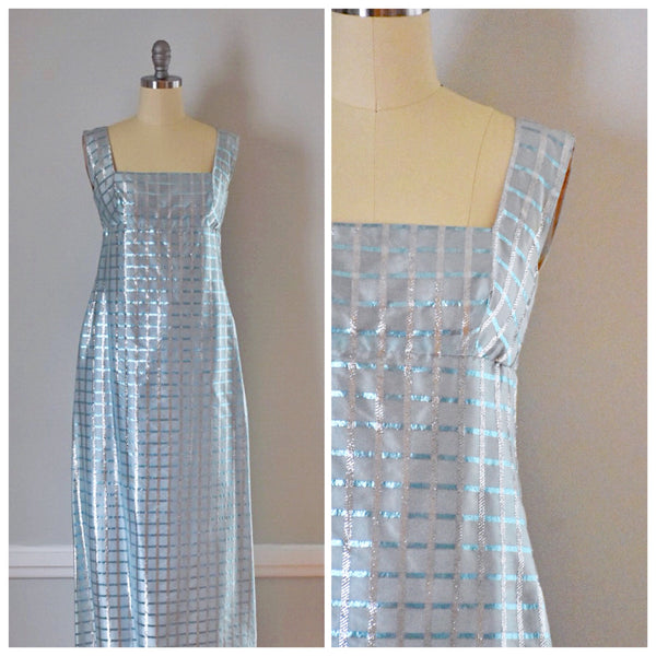 60s Metallic Empire Waist Formal Dress