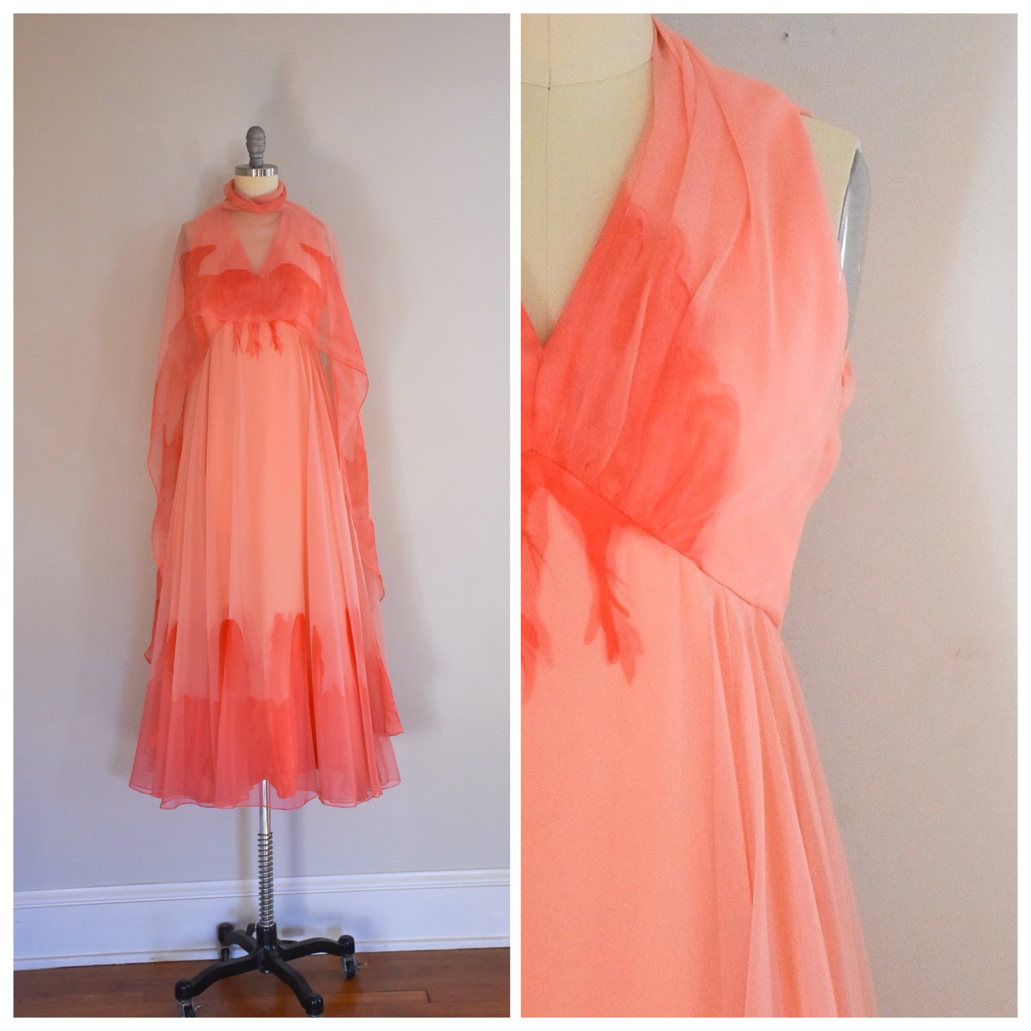 70s Vintage Chiffon Dress