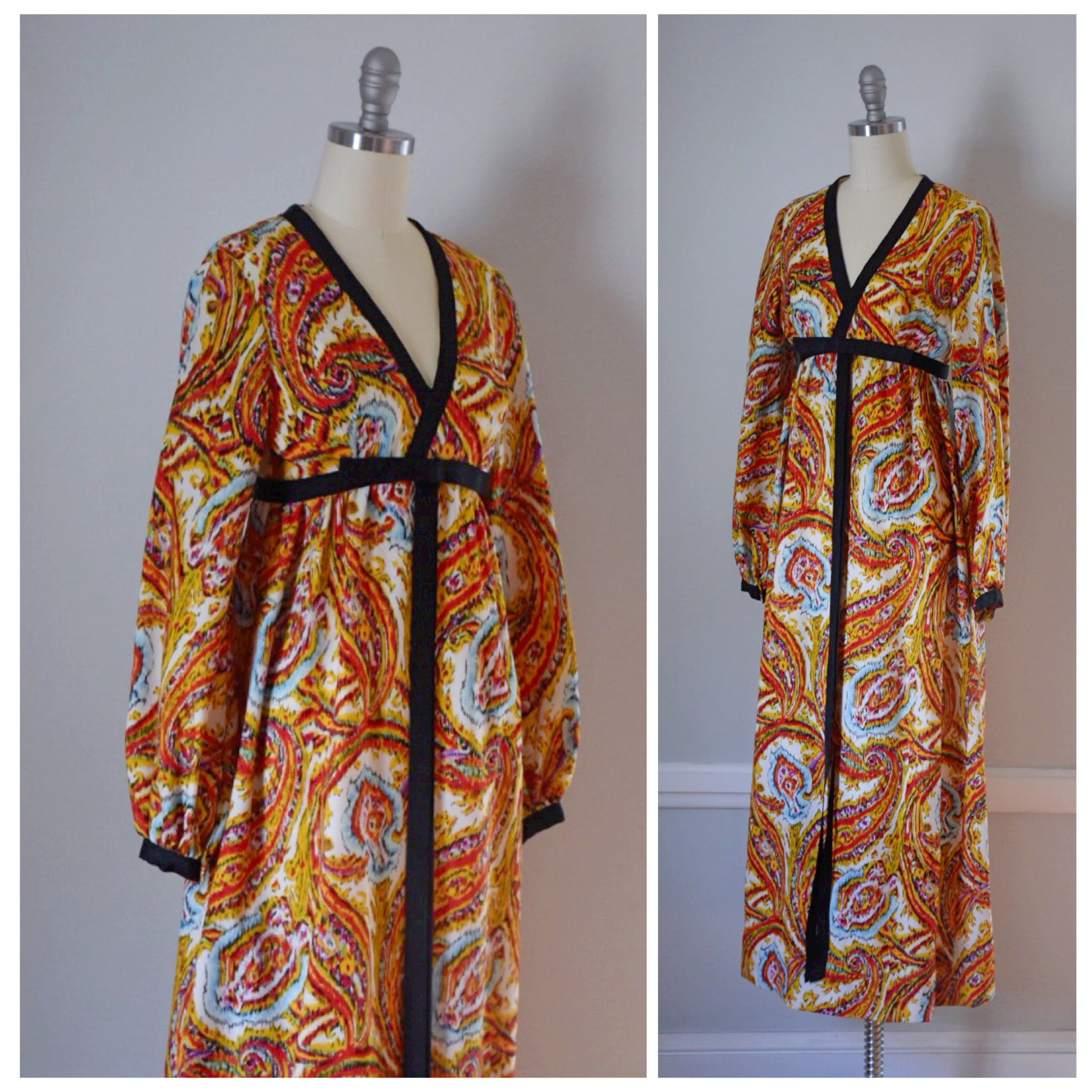 70s Vintage Abstract Maxi Dress