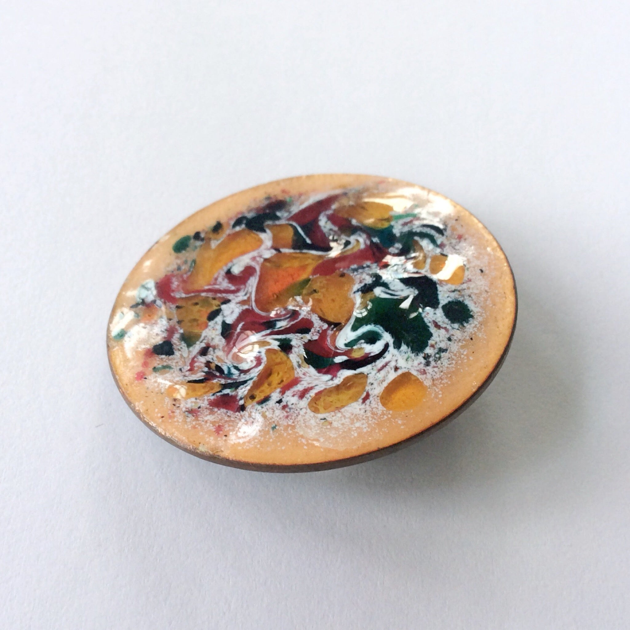 60s Modernist Copper And Enamel Brooch