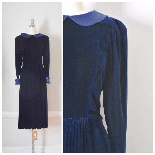 80s Blue Velvet Low Back Dress