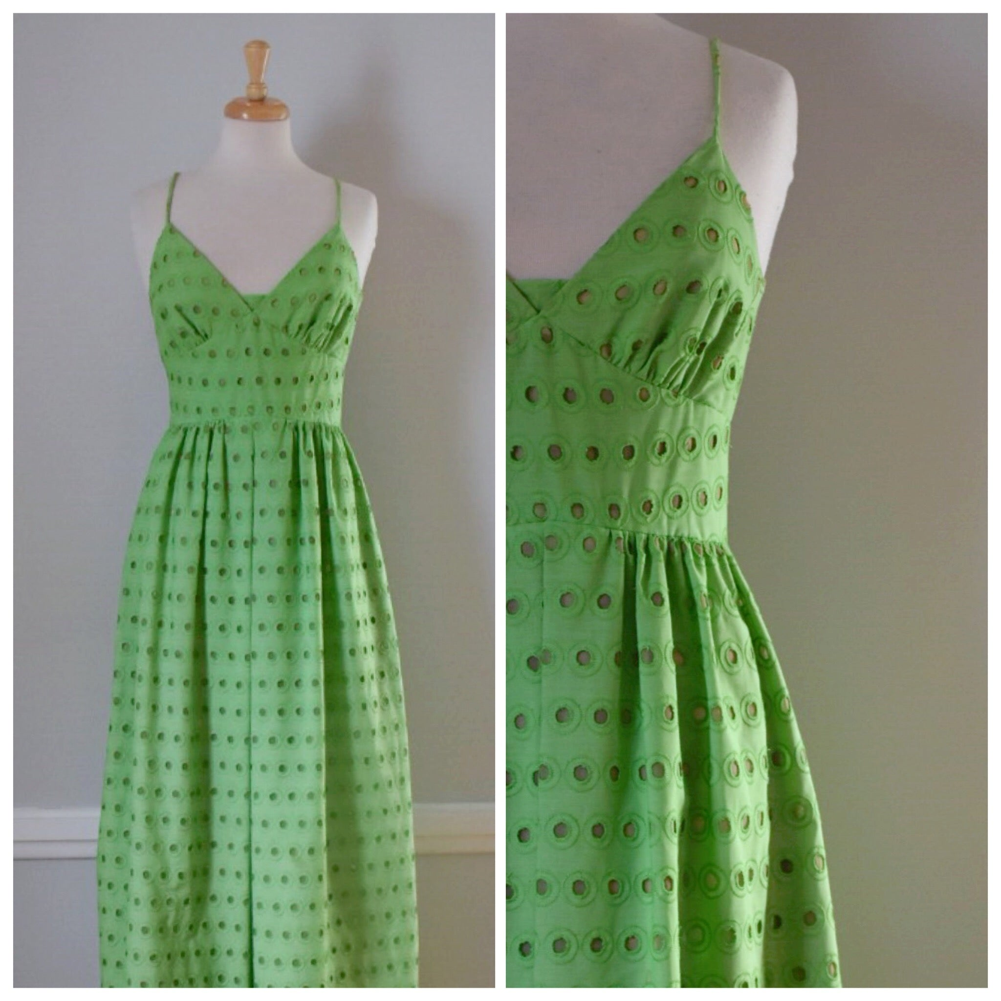 Vintage Eyelet Halter Dress from the 60s / 70s