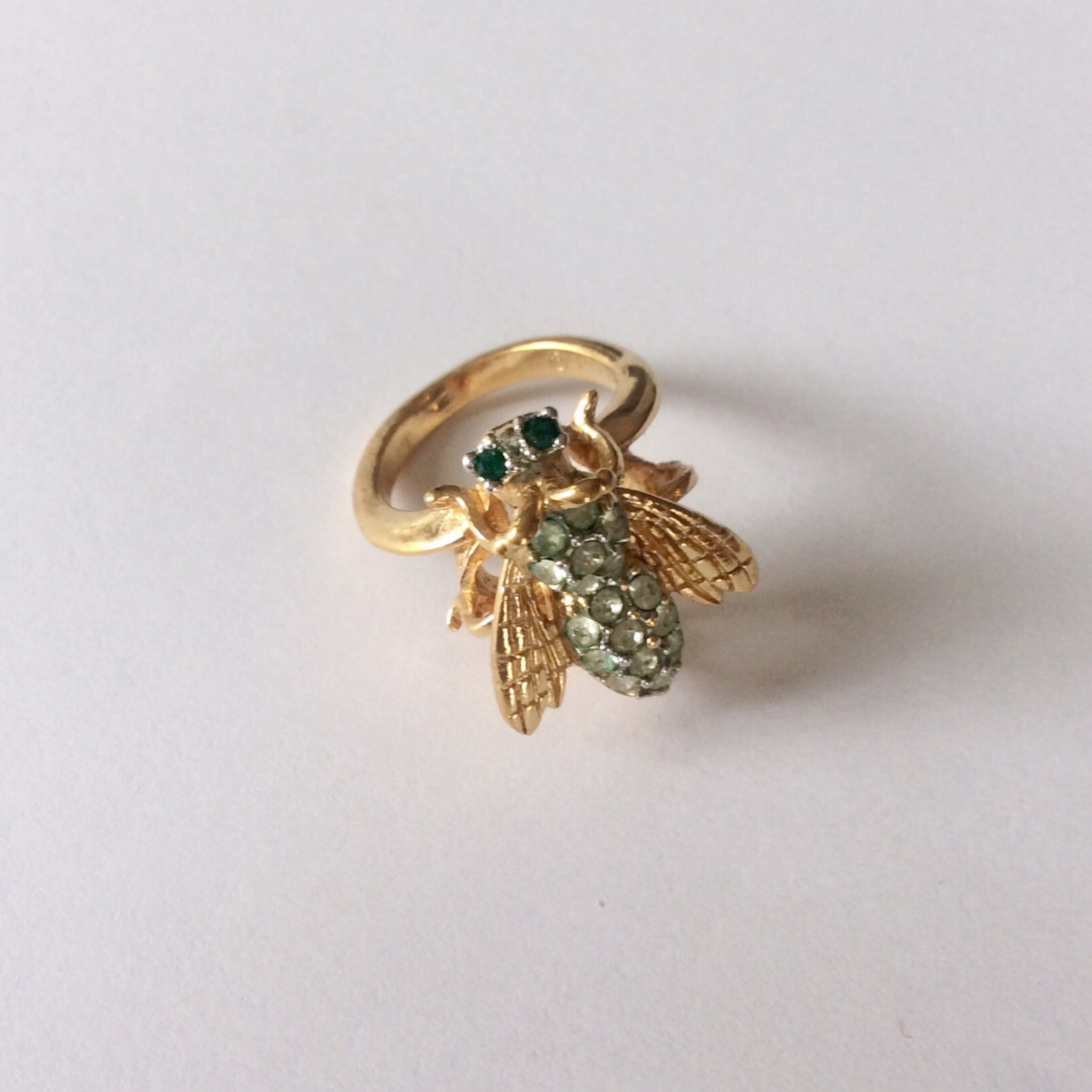 Vintage Rhinestone Bee Ring