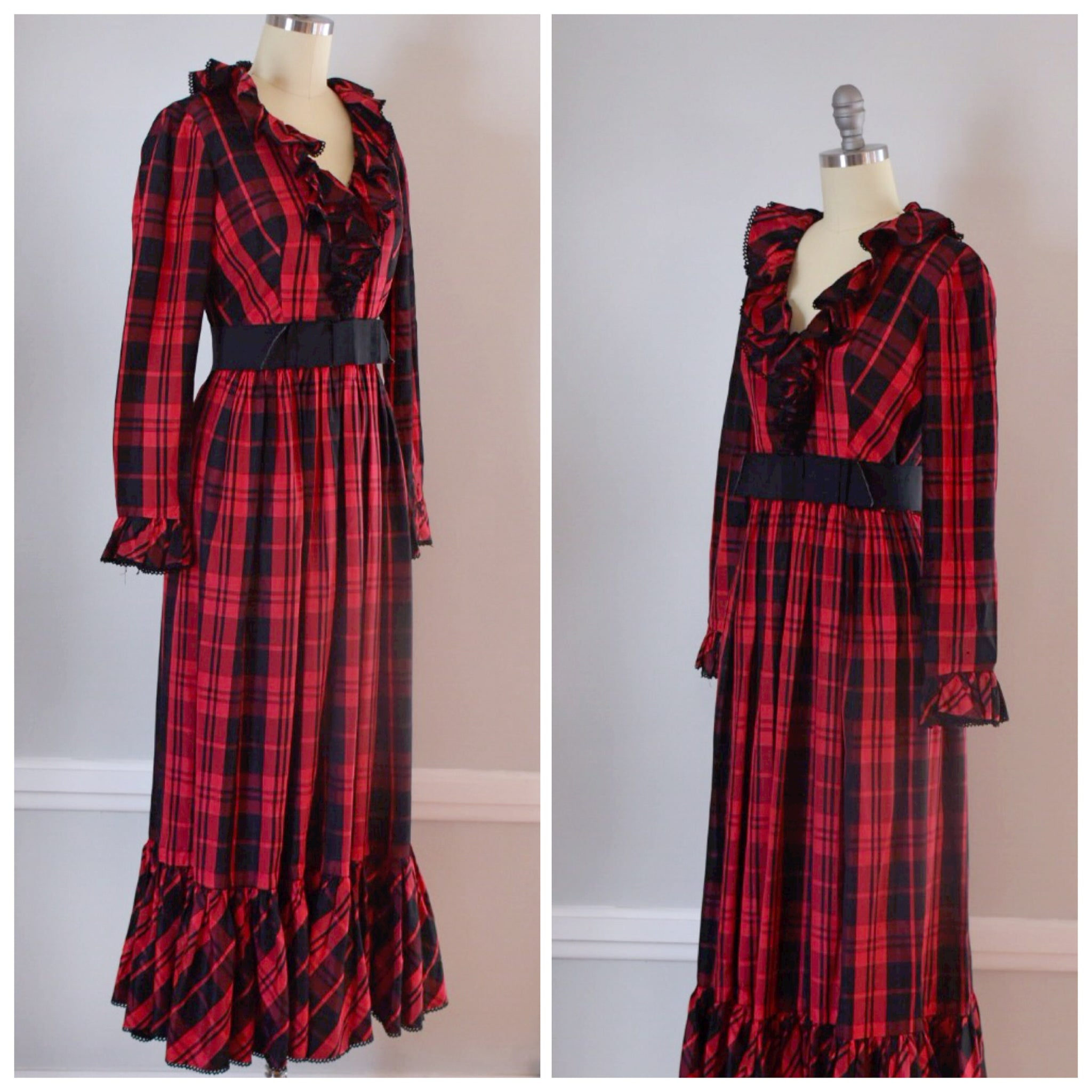 70s Taffeta Maxi Dress