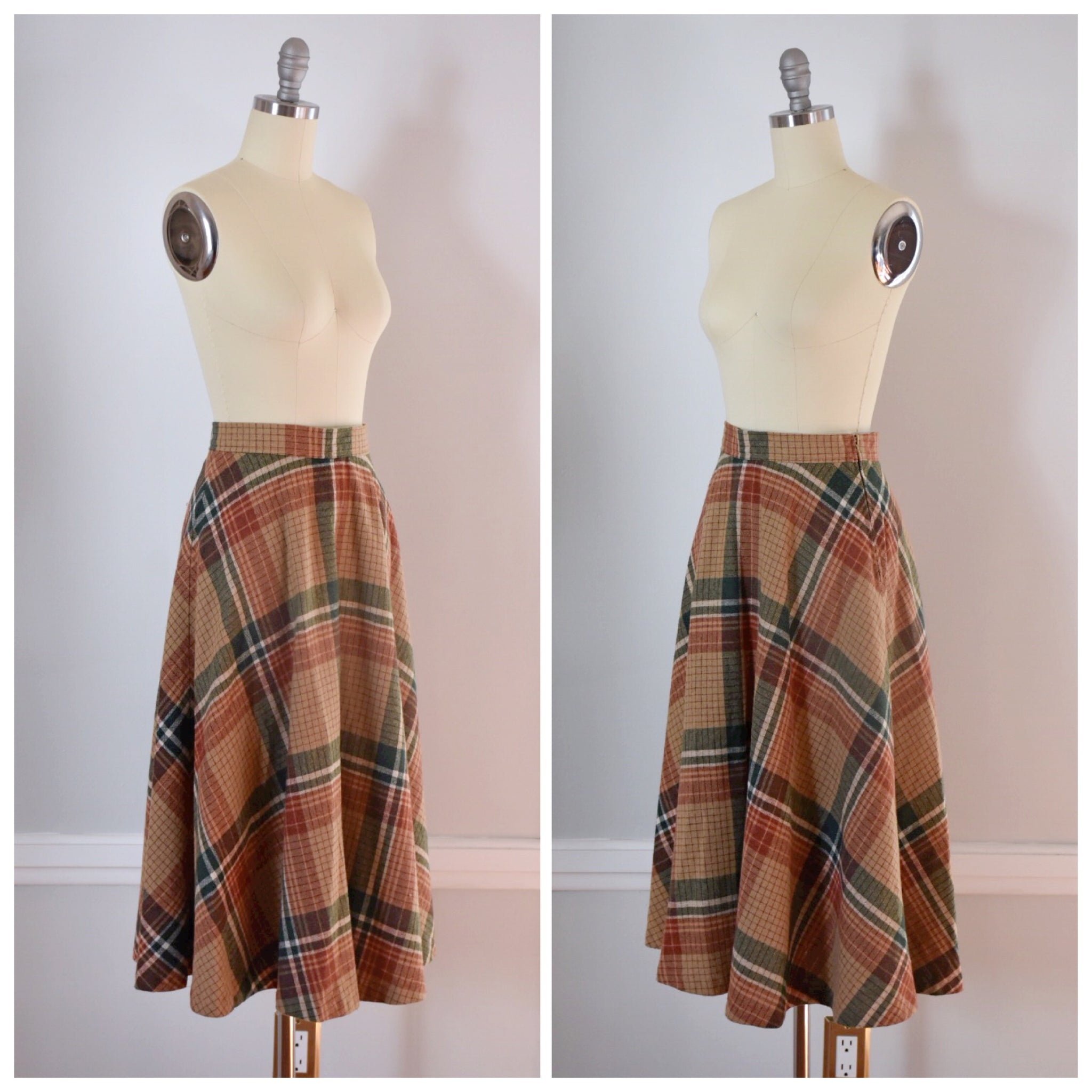 70s Vintage Plaid Skirt