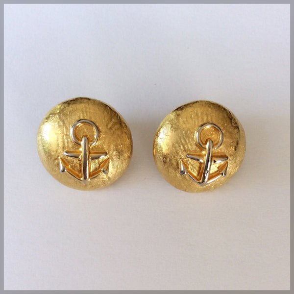 80s Vintage Anchor Earrings